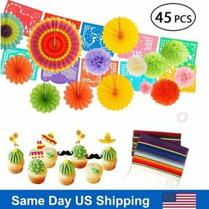45PCS Fiesta Paper Fans Table Runner Cupcake Toppers Cinco De Mayo Party Decor