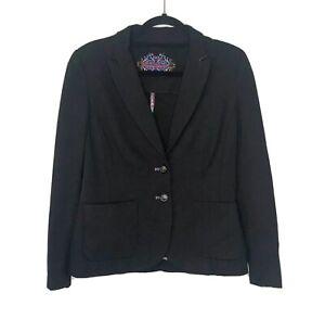 Robert Graham Womens Blazer Size 8 Black Silk Multicolor Trim Career