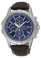 Seiko Core Solar Chronograph Quartz Stainless Steel and Leather Men's Watch