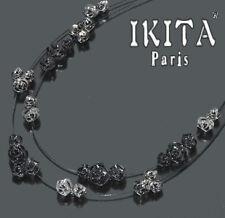 Luxus Statement Halskette IKITA Paris Kette Collier Rosa Schwarz Kollier Blume