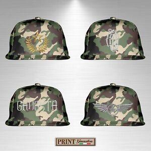 Cappello snapback CAMOUFLAGE ricamato soldato esercito stelle militare gradi top