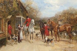 Drink before the hunt Fox Hunting Scene Canvas Wall Art Poster Print Dogs Horses