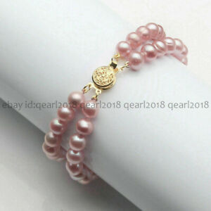 Genuine 2 Rows 7-8mm/8-9mm Natural Cultured Freshwater Pearl Bracelet 7.5'' AA