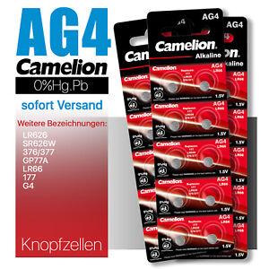 LR626 AG4 SR626W 376 377 G4 LR66 177 GP77A  Camelion Knopfzellen MHD 10.2026