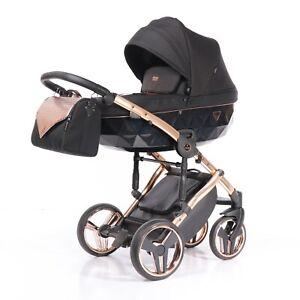 New Junama ONYX Rose Gold + Black Baby Pram Stroller Pushchair Travel System