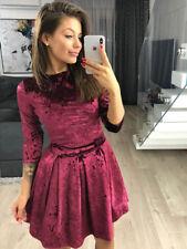 Womens Long Sleeve Velvet Dress Short Mini Dress Fashion Bandage Party Dress