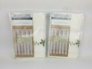 Country Living 1 Pair Tier Coordinate White With Green Embroidery Set