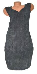 ITALY Mode Damen Kleid Nadelstreifen Träger schwarz Gr. L 42 44 46 48 NEU