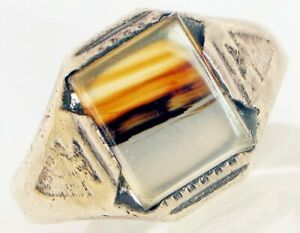 VINTAGE MEN'S STERLING SILVER ARROWHEAD SUNSET AGATE RING SIZE 12 HEAVY NICE !