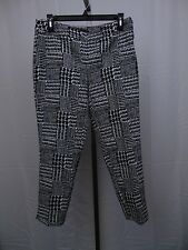 Jones New York Petite Cropped Black & White Geo-Print Side Zip Pants 6P #805