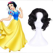 Princess Snow White Wig Black Short Curly Styled Cosplay Wig + Wig Cap