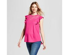 Isabel Maternity Flutter Sleeve Short Sleeve Top Ruby Pink