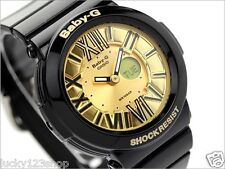 BGA-160-1B Black Gold Casio Baby-G Ladies Watches Analog Digital Neon Brand-New