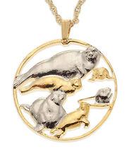 "Seals & Seal Babies Coin Pendant Hand cut Medallion 1-1/4"" diameter, ( # 841 )"