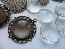 10 x 20mm Bronzo Ciondolo KIT.35 x32mm, gioielli. le impostazioni & Clear Glass i Cabochon