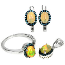 NATURAL AAA RAINBOW OPAL OVAL CABOCHON & BLUE CZ STERLING 925 SILVER SET SIZE 7