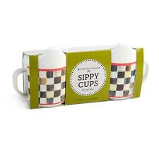 Mackenzie Childs Set of 2 Courtly Check Sippy Cups - New