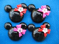 20 Resin Mouse Head Flatback w/Bow Flower-Black 2 Colors