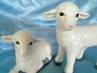 "Vintage 1989 Ceramic Lambs Sheep Figurines Pair 8"""