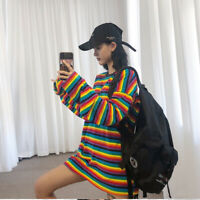 HOT Ladies Rainbow Striped O-neck Cotton T-shirt Loose Long Sleeve Harajuku Top
