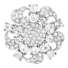 1P AUCTION! White Swirl Swarovski Element Crystals Brooch Silver Tone Gift Boxed