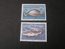 GREENLAND, SCOTT # 138+140(2), 10k+27k VALUES 1980-86 FISH ISSUE MNH