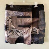 desigual skirt 40 black multi color wool print wrap - size 40