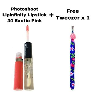 PHOTOSHOOT 2 STEP LIPINFINITY LIQUID LIPSTICK 34 EXOTIC PINK & FREE TWEEZER x 1