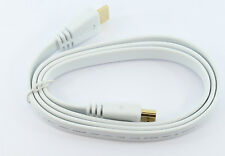 WHITE 1m FLAT GOLD HDMI 1.4 High Speed Cable 3D HD TV PC with Ethernet Channel