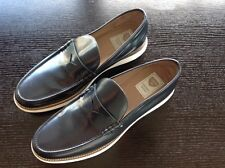 CHOPO Men's Navy Blue Patent Leather Loafer Shoes Size 44