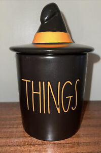 Rae Dunn Halloween Bathroom Cup/Holder THINGS w/ Witch Hat Topper New