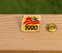 "1990 Olympics Gold Tone Metal & Enamel 1"" Lapel Pin Pinback"
