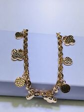 "18k Solid Yellow Gold Lucky Charm Bracelet.Adjustable 6.25"", 6.75"" Or 7.5"""