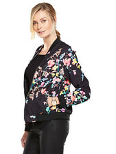 V by Very Floral Print Bomber Jacket in Black / Multi Size 8