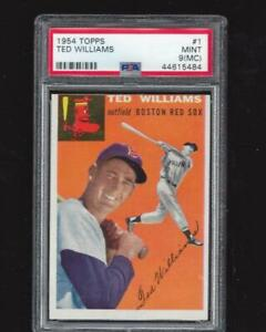 ⚾1954 Topps #1 TED WILLIAMS PSA 9 MINT Sharp Highest Graded! +1954 Hank Aaron RP