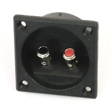 Square Shape Double Binding Post Type Speaker Box Terminal Cup Black SS