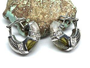 Judith Ripka Sterling Silver Green CZ Diamonique Hoop Earrings (16.3g)