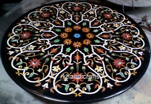 48 Inches Marble Dining Table Top Elegant Guest Room Table with Peitra Dura Art