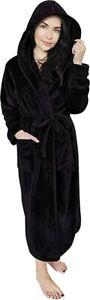 Women Fleece Hooded Bathrobe  Plush Long Robe NY Threads