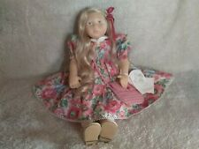 "Pauline's Kelly 21"" Cloth Doll Blonde Hair Blue Eyes with Purse, Tag, Coa, Box"