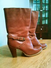 Vintage Zodiac Leather Western Style Boots Women's 8M, Dark Red Made in USA NICE