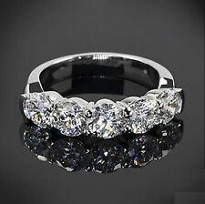 Wedding Ring Solid .925 silver ring 5 Stone 2.01ct Near White Moissanite Diamond