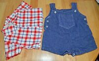 Vintage Child's Denim Overalls & Shirt Set w Red, White & Blue Check Pattern GUC