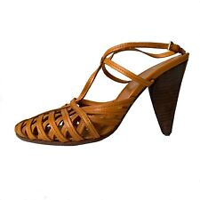 Prada Woven Leather T Strap Sandal size Us 6 Orange Womens Shoe Strappy Vtg Heel