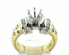 0.92 CT Natural diamond semi mount ring/setting only VS1/G 14K two tone gold