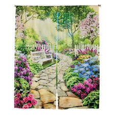 Garden with Stone Path Scene Window Curtain Drapes