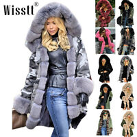 Women Ladies Winter Long Warm Thick Parka Faux Fur Jacket Hooded Fur Collar Coat
