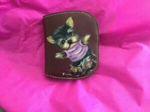 YORKIE  PUPPY PLAYING HAND PAINTED LEATHER  COIN PURSE