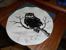 "New Mint Maxcera Owl Sketch Halloween RIP Tombstones and Cemetary 10 1/2"" Plate"