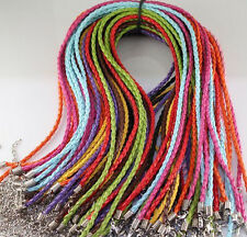 """Free shipping  20pcs mixed twist leather cord necklaces 18"""""""